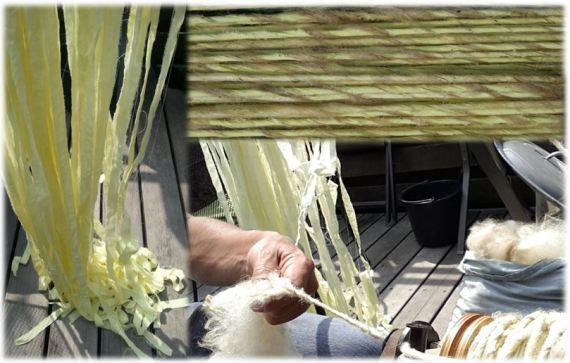 Art Yarn met een laken in reepjes